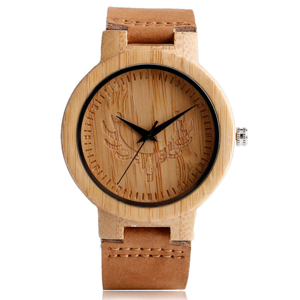 Genuine Leather Band Hot Nature Wood Wrist Watch Men Cool Gift Quartz Creative Watches Deer Head Bamboo Fashion Simple