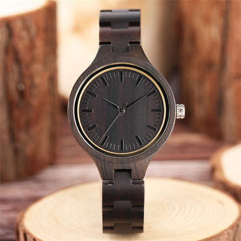 Nature Wood Creative Women's Bracelet Watches Full Wooden Ladies Wristwatch Modern Handmade Bamboo Clock 2018 New Christmas Gift