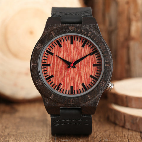 Round Dial Nature Wooden Modern Watch Fashion Creative Quartz Wood Wristwatches Casual Genuine Leather Band Watch Men Fashion