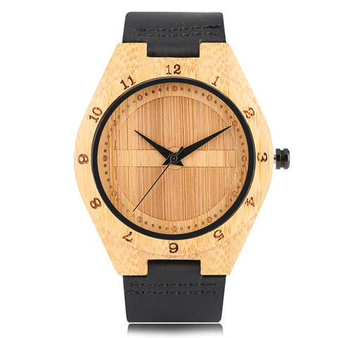 Creative Simple Nature Genuine Leather Band Watch Men 2018 New Analog Hot Bamboo Wrist Watches Fashion Sports