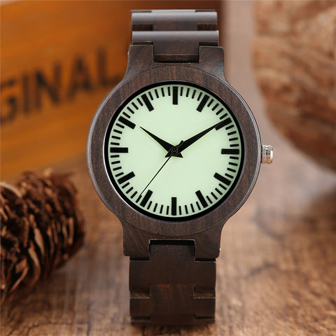 Cool Full Ebony Wood Women Watches Creative Light Green Dial Simple  Bamboo Wrist Watch Bangle Luminous Modern Sport Clock
