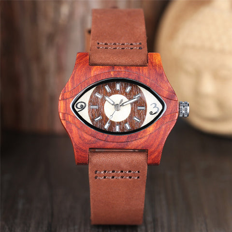 Fashion Bamboo Wood Women Watches Creative Eye Shape Casual Analog Modern Ladies Watch 2018 New Arrival Red Wooden Clock Gift