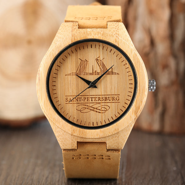 Novel Quartz Women Bamboo Watch Genuine Leather Band Simple Nature Creative