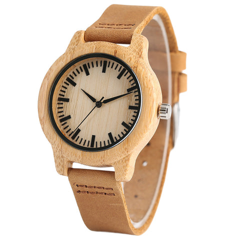 Simple Bamboo Women Watches Creative Genuine Leather Band Quartz Ladies Watch Casual Wood Clock
