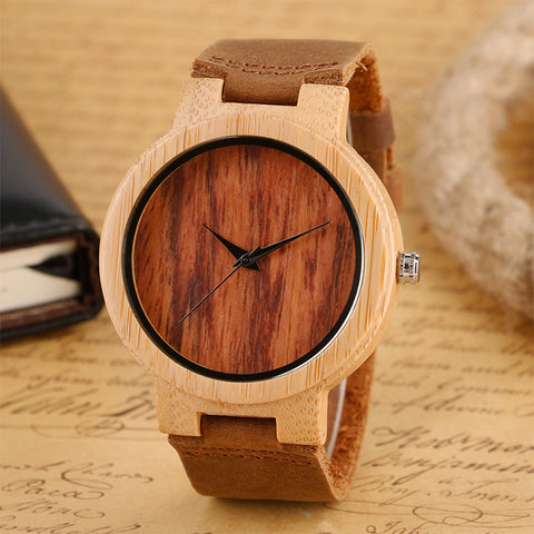 Fashion Bamboo Wood Quartz Watches for Men Simple Pattern Brown/Black/Coffee Dial Creative Wrist Watch Modern Clock Gift