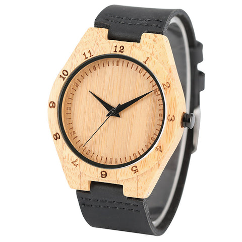 Creative Mens Wooden Watches Analog Sports Genuine Leather Band Handmade Fashion Nature Bamboo Wrist Watch