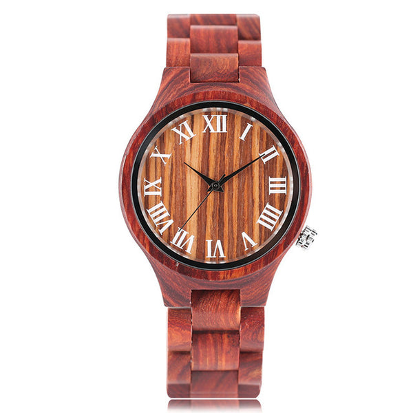 2018 New Nature Wood Women's Watch Novel Simple Creative Wristwatch Casual Full Wooden Bamboo Red Sandalwood