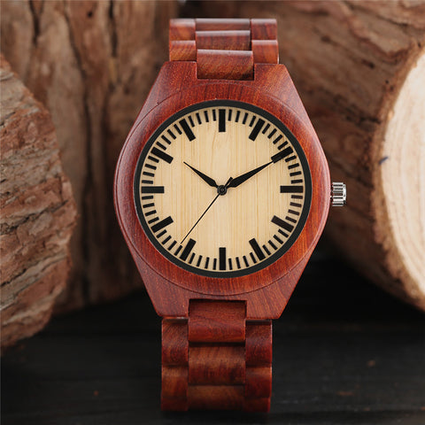 Red Wood Watch Men Full Nature Wooden Bamboo Handmade Creative Watches Casual Bangle Fashion Simple Clock Gift 2018 New