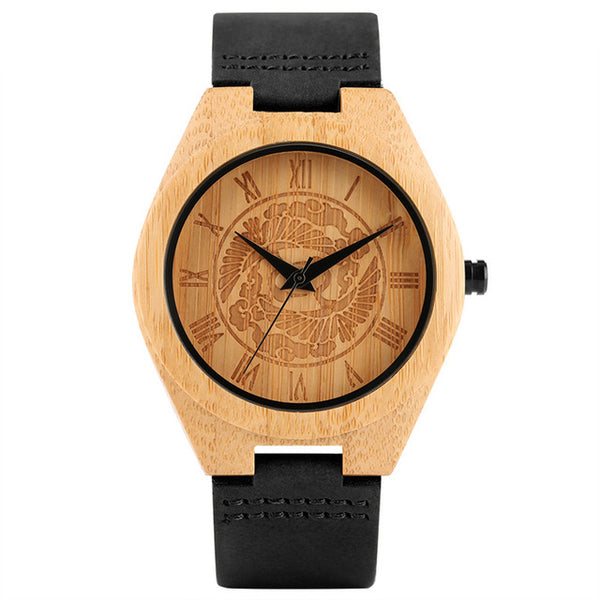 Pine Tree Dial Bamboo Watches Men Creative Novel Genuine Leather Band Sport Analog Wrist Watch Gift Minimalist Nature Wood Clock