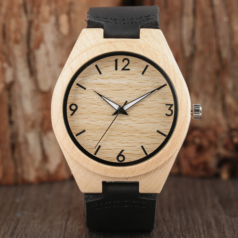 Sandalwood Genuine Leather Band Wristwatch Cool Sport Men Novel Nature Bamboo Creative