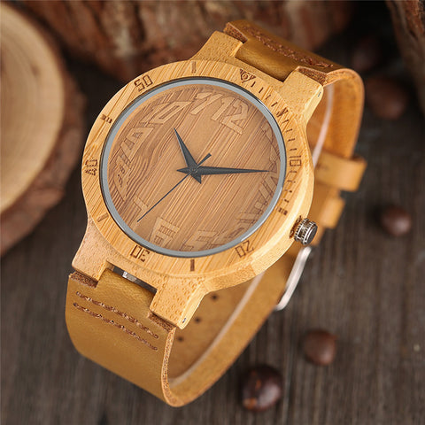 Novel Bamboo Watches Creative Genuine Leather Band Wristwatch 2018 New Men Quartz Nature Wooden Watch Handmade Clock Fashion