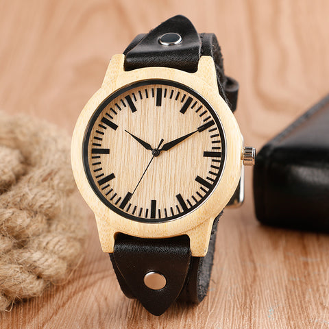 Bamboo Leather Band Creative Watches Minimalist Unique Nature Wood Women Wristwatch Men Handmade Punk Bangle Reloj Hombre Gift