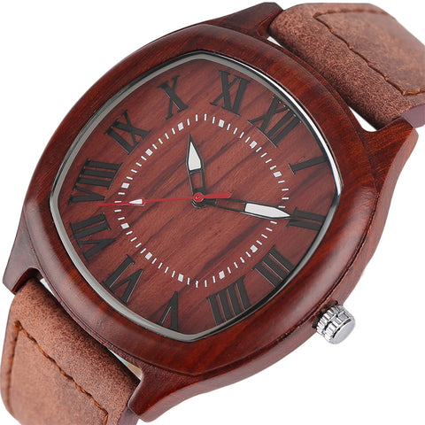 Wood Watch Men Modern Genuine Leather Strap Bamboo Wooden Watches Creative Quartz Roman Numerals Dial Clock
