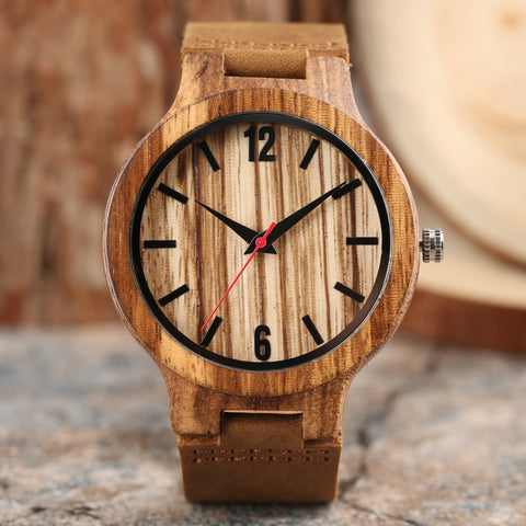 2018 New Arrival Bangle Cool Genuine Leather Band Bamboo Wrist Watch Analog Men