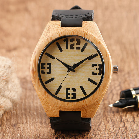 Fashion Quartz Bangle Nature Wood Analog Wristwatch Sport Genuine Leather Band Bamboo Women Creative Watches Cool Relogio Gift