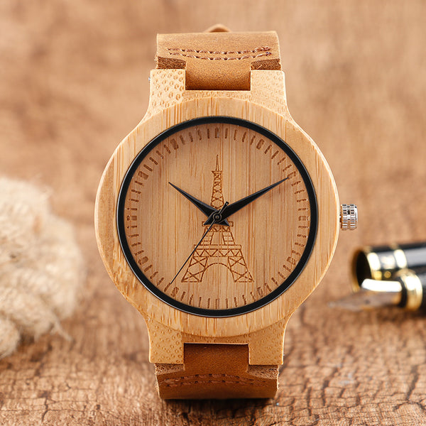 Simple Eiffel Tower Bangle Nature Wood Wristwatch Ladies Bamboo Sport Leather Band Handmade Women Creative Watches Relogio Gift