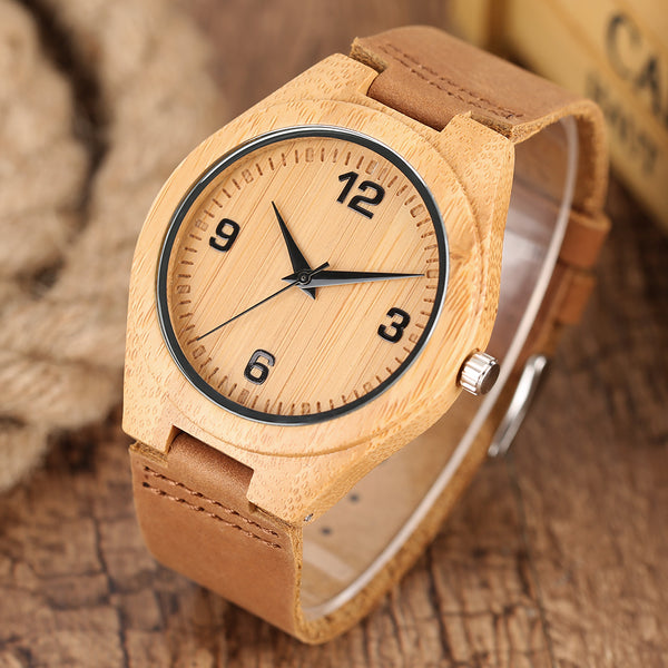 Fashion Minimalist Bamboo Genuine Leather Band Quartz Wristwatch Simple Creative Handmade Nature Bangle Women Watches 2018 New