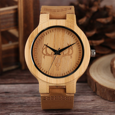 Minimalist Cattle Head Bamboo Quartz Watch Men Nature Wood