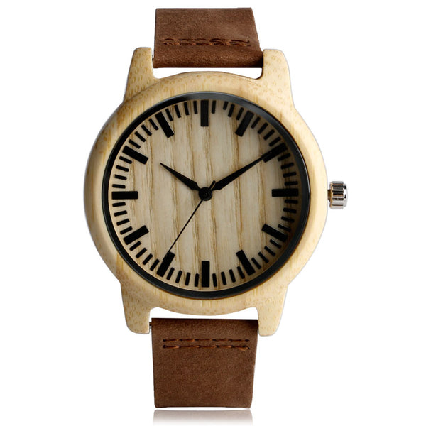 Simple Bamboo Wood Women Watches Creative Genuine Leather Strap Wooden