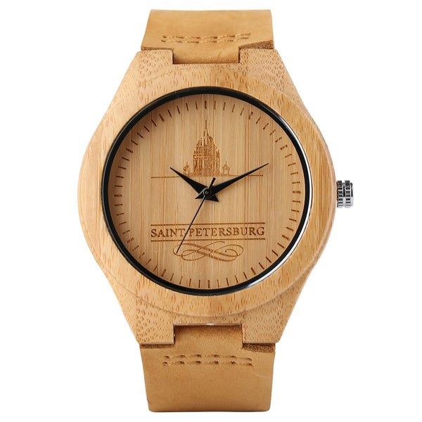 Quartz Creative Watches Gift Nature Sport Women Bamboo Genuine Leather Wooden Bangle Relogio