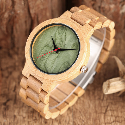 Fashion Nature Wood Handmade Women Sport Wristwatch Casual Fold Clasp Bamboo