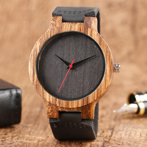 Genuine Leather Band Minimalist Bamboo Women Wood Wristwatch Quartz Wooden
