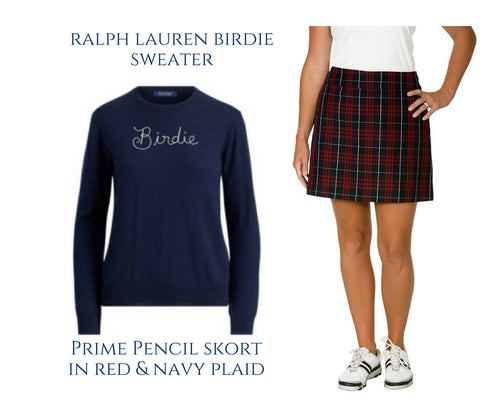 Course & club plaid golf skort Ralph Lauren Birdie sweater
