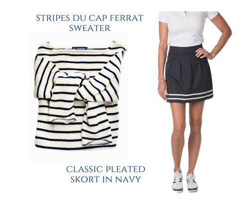 KJP Striped Sweater and Course & Club Navy Pleated Skort