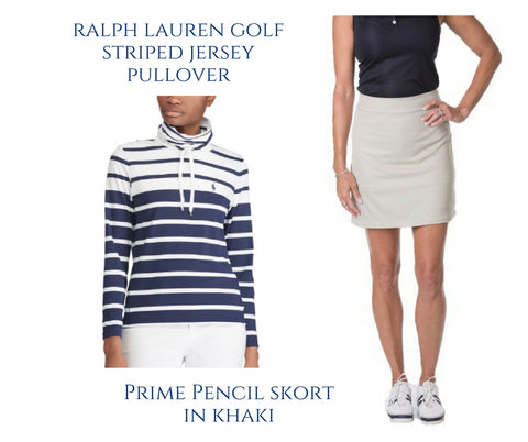 Course & Club's khaki golf skort Ralph Lauren striped top