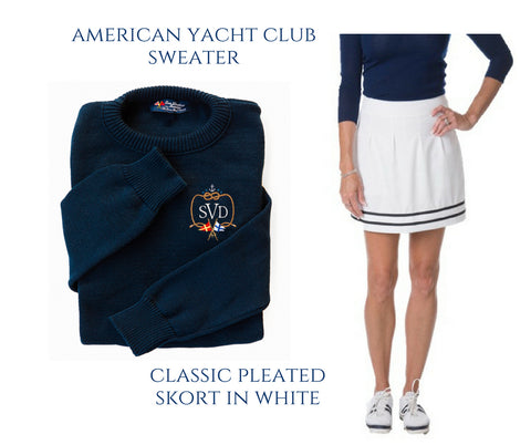 Keil James Patrick Yacht Sweater Course & Club White pleated golf skort