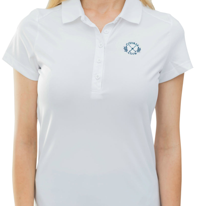 Short Sleeve Polo Top in White - Course & Club