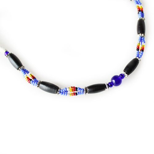 Lakota Crafters Multi-Colored Blue Based Black Bone Bracelet by Valerie Brown Eyes