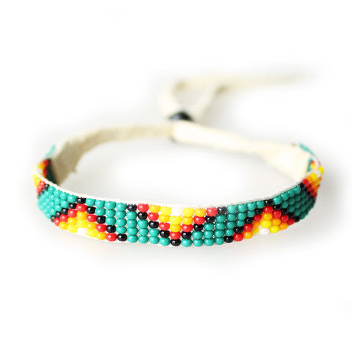 Lakota Crafters Green with Sunburst Geo Pattern Friendship Bracelet by Cecelia 'Rose' Stanley
