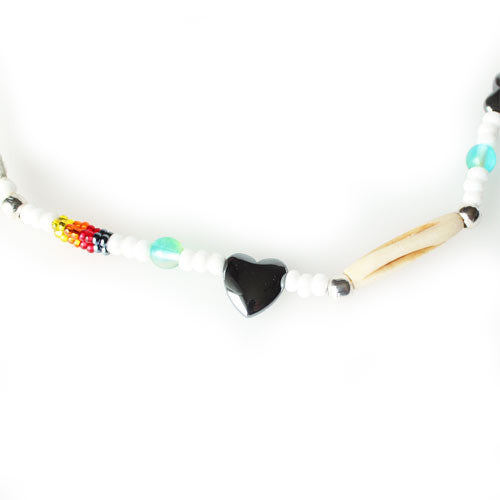 Lakota Crafters Multi-Colored White Based Antiqued Bone Bracelet with Hearts by Valerie Brown Eyes