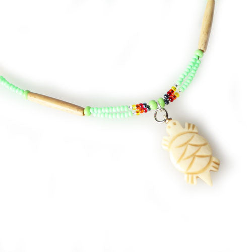 Lakota Crafters Light Green Based Multi-Color Turtle Necklace by Valerie Brown Eyes