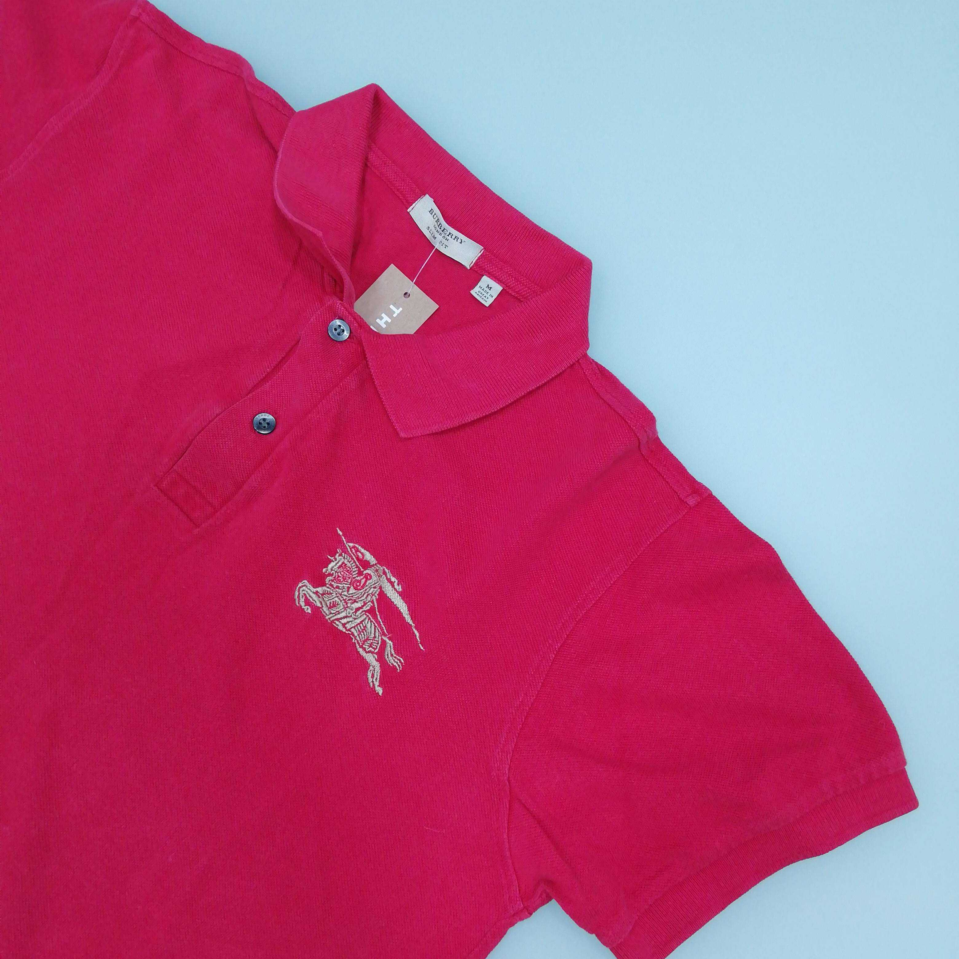 Burberry Men's Short Sleeve Polo Top M Colour: Red