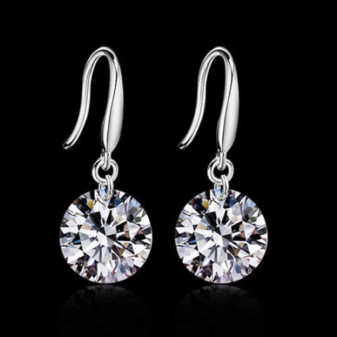 925 Sterling Silver Ear Hook Crystal Rhinestone Earrings   FREE SHIPPING...