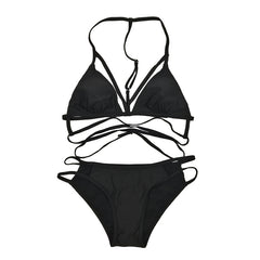 Push-Up Bikinis Sexy black bandage design bikini swimsuit