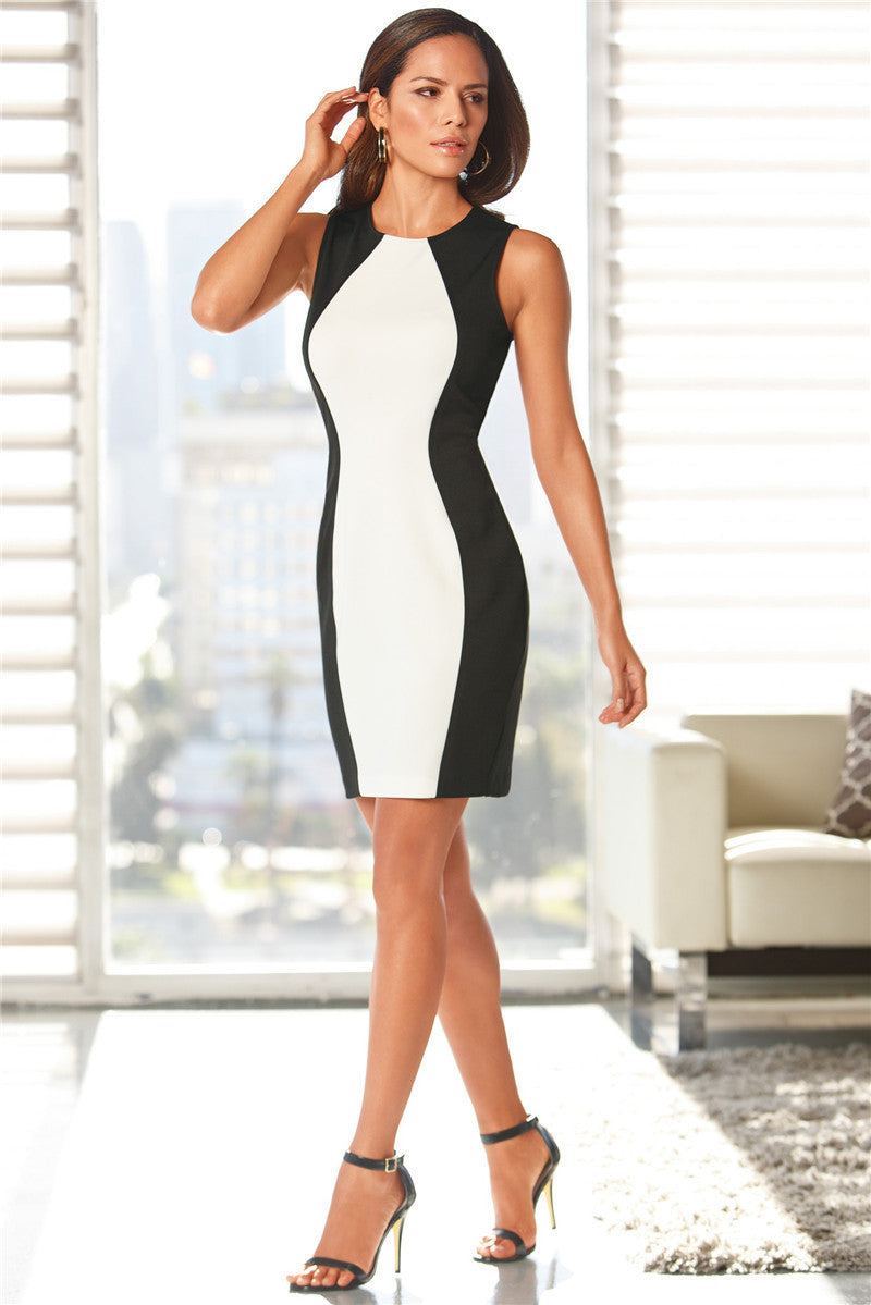 Black White Splice Women Dress Sleeveles Vest Summer Dresses Plus Size Sexy Dress Vintage Office Bodycon Dress
