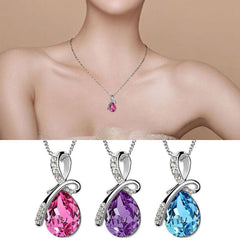 925 Sterling Silver Rhinestone Crystal Chain Pendant Necklace   FREE SHIPPING
