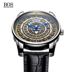 ANGELA BOS Retro 3D Mayan Calendar Dial Stainless Steel Automatic Mechanical Watch Swiss Luminous Mens Watches  Luxury