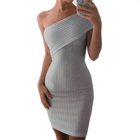 Fashion Lady Symbol Off Shoulder Summer Dress Women Slim Casual Dress Sexy Grey Elegant Short Party Knitted Dress