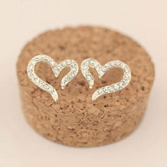 925 Sterling Silver Plated Crystal Rhinestone Heart Ear Stud Earrings  FREE Shipping