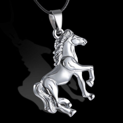 Horse Unisex Pendant Leather Necklace Jewelry Silver color alloy     FREE SHIPPING...