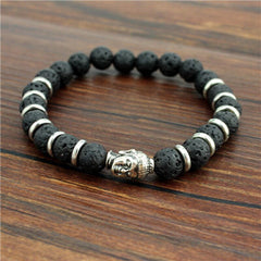 Buddha head beads energy Volcano Stone bracelet beads  Jewelry For Men Women