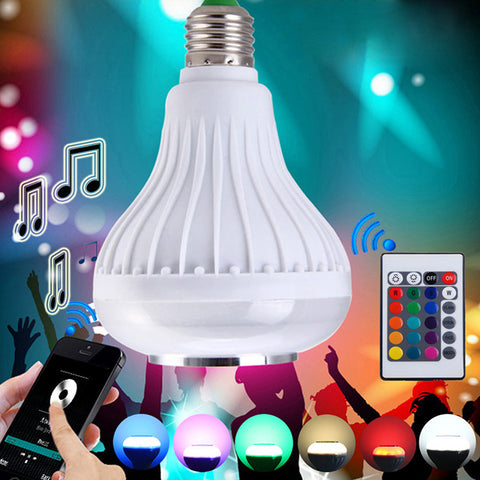 Wireless Bluetooth 12W LED Speaker Bulb Audio Speaker E27 Colorful music playing & Lighting With 24 Keys IR remote Control