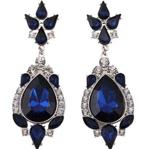 Women Elegant Crystal Rhinestone Ear Stud silver dangle Earrings  FREE SHIPPING  Only $12