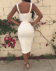 New Arrival Women Sexy Black White Color V Neck Bodycon Spaghetti Strap Bandage Dress With Deep Inverted V Split MD480