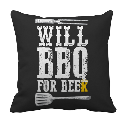 Will BBQ For Beer Decorative Pillow