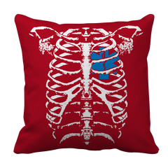 EMT Heart In Ribcage Decorative Pillow